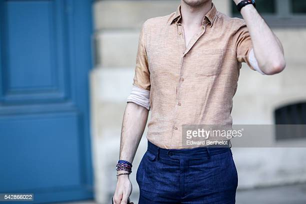 Louis Charles D'Orliac is wearing Massimo Dutti pants and shirt and Stan Smith shoes after the Cerruti show during Paris Fashion Week Menswear...