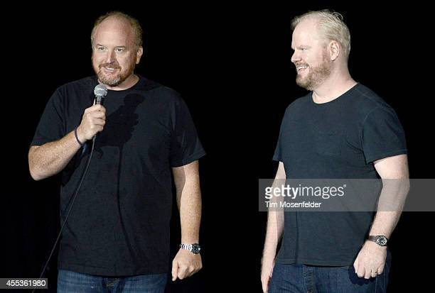 Louis CK and Jim Gaffigan perform during the Oddball Comedy And Curiosity Festival at Shoreline Amphitheatre on September 12 2014 in Mountain View...