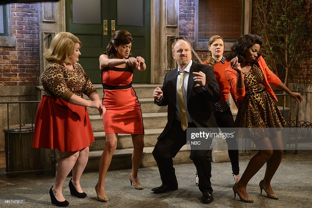 LIVE -- 'Louis C.K.' Episode 1657 -- Pictured: (l-r) Aidy Bryant, Cecily Strong, Louis C.K., Kate McKinnon, Sasheer Zamata --