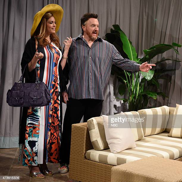 """Louis C.K."""" Episode 1683 -- Pictured: Cecily Strong as Jemma, Louis C.K., Vanessa Bayer and Kenan Thompson as Jean during the """"Cabana"""" skit on May..."""