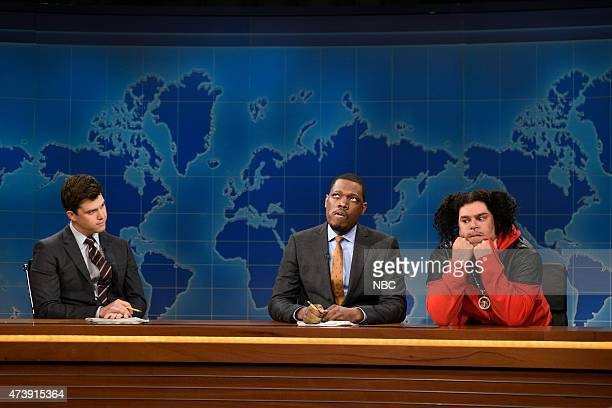 """Louis C.K."""" Episode 1683 -- Pictured: Colin Jost, Michael Che and Bobby Moynihan as Riblet during Weekend Update on May 16, 2015 --"""