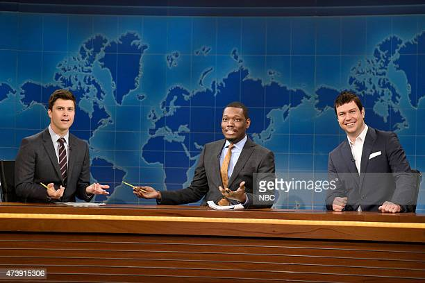 """Louis C.K."""" Episode 1683 -- Pictured: Colin Jost, Michael Che and Taran Killam as Tom Brady during Weekend Update on May 16, 2015 --"""