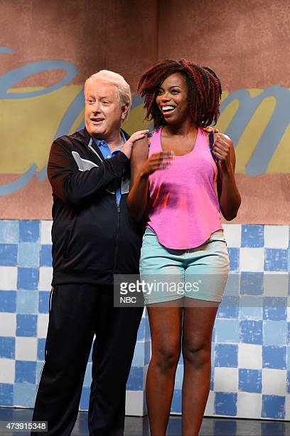 """Louis C.K."""" Episode 1683 -- Pictured: Darrell Hammond as Bill Clinton and Sasheer Zamata during the """"Summertime Cold Open"""" skit on May 16, 2015 --"""