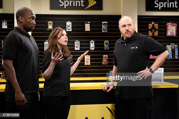 """Louis C.K."""" Episode 1683 -- Pictured: Jay Pharoah, Vanessa Bayer and Louis C.K. As Donald during the """"This Is How I Talk"""" skit on May 16, 2015 --"""