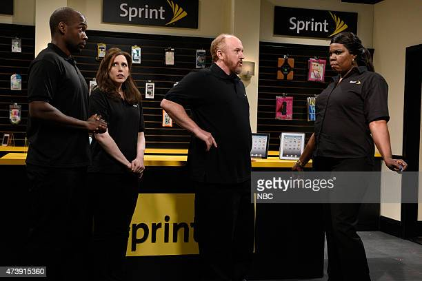 """Louis C.K."""" Episode 1683 -- Pictured: Jay Pharoah, Vanessa Bayer, Louis C.K. As Donald and Leslie Jones as Brenda during the """"This Is How I Talk""""..."""