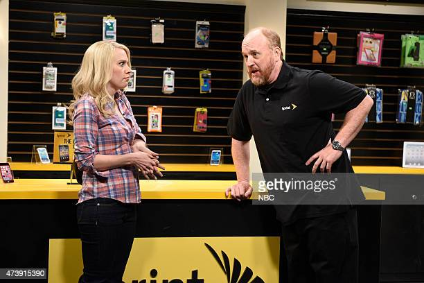"""Louis C.K."""" Episode 1683 -- Pictured: Kate McKinnon and Louis C.K. As Donald during the """"This Is How I Talk"""" skit on May 16, 2015 --"""
