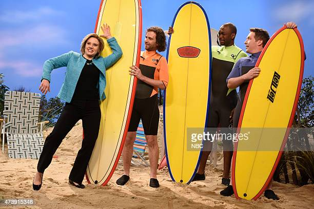 """Louis C.K."""" Episode 1683 -- Pictured: Kate McKinnon as Hillary Clinton, Kyle Mooney, Jay Pharoah and Beck Bennett during the """"Summertime Cold Open""""..."""