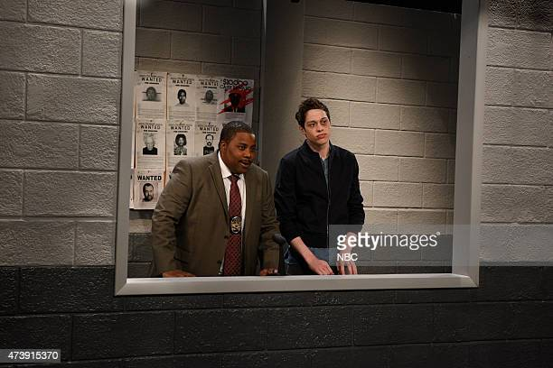 """Louis C.K."""" Episode 1683 -- Pictured: Kenan Thompson and Pete Davidson during the """"Police Line Up"""" skit on May 16, 2015 --"""