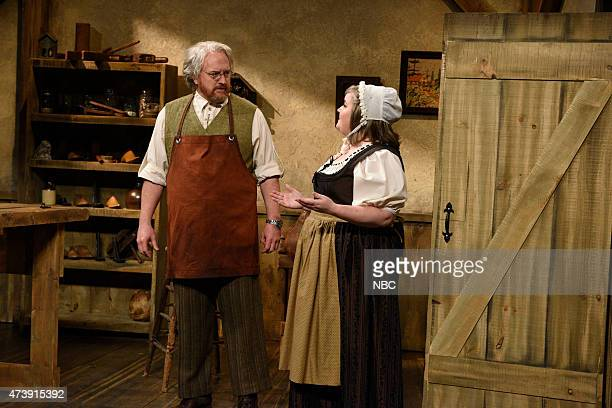 """Louis C.K."""" Episode 1683 -- Pictured: Louis C.K. And Aidy Bryant during the """"Shoemaker and The Elves"""" skit on May 16, 2015 --"""
