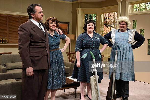 """Louis C.K."""" Episode 1683 -- Pictured: Louis C.K as Tom., Kate McKinnon, Aidy Bryant and Bobby Moynihan as Frank during the """"Forgotten TV Gems"""" skit..."""