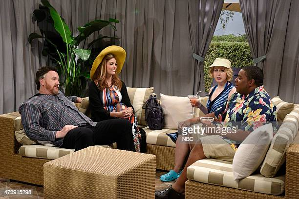 """Louis C.K."""" Episode 1683 -- Pictured: Louis C.K., Cecily Strong as Jemma, Vanessa Bayer and Kenan Thompson as Jean during the """"Cabana"""" skit on May..."""