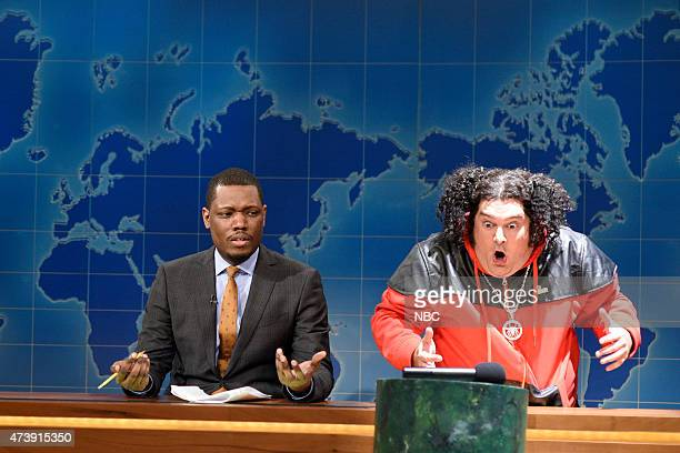 """Louis C.K."""" Episode 1683 -- Pictured: Michael Che and Bobby Moynihan as Riblet during Weekend Update on May 16, 2015 --"""