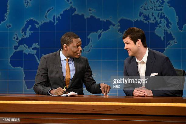 """Louis C.K."""" Episode 1683 -- Pictured: Michael Che and Taran Killam as Tom Brady during Weekend Update on May 16, 2015 --"""