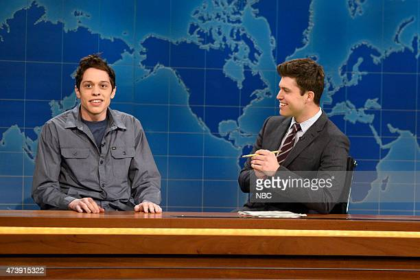 """Louis C.K."""" Episode 1683 -- Pictured: Resident Young Person Pete Davidson and Taran Killam during Weekend Update on May 16, 2015 --"""