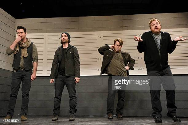 LIVE Louis CK Episode 1683 Pictured Taran Killam Kyle Mooney Beck Bennett and Louis CK during the Police Line Up skit on May 16 2015