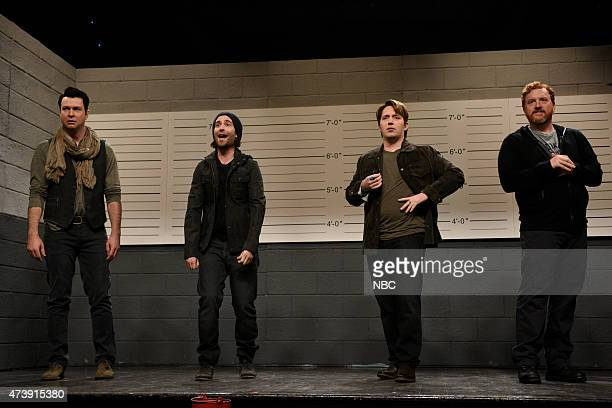 """Louis C.K."""" Episode 1683 -- Pictured: Taran Killam, Kyle Mooney, Beck Bennett and Louis C.K. During the """"Police Line Up"""" skit on May 16, 2015 --"""