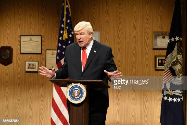 LIVE Louis CK Episode 1721 Pictured Alec Baldwin as President Donald Trump during the Trump People's Cold Open on April 8 2017