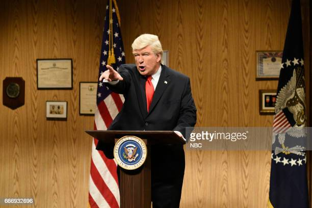 LIVE 'Louis CK' Episode 1721 Pictured Alec Baldwin as President Donald Trump during the 'Trump People's Cold Open' on April 8 2017