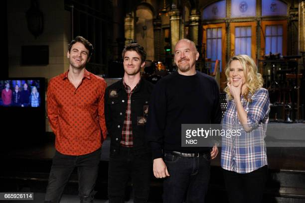 LIVE Louis CK Episode 1721 Pictured Alex Pall and Andrew Taggart of musical guest The Chainsmokers Louis CK Kate McKinnon