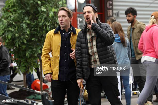 LIVE Louis CK Episode 1721 Pictured Beck Bennett as the director Kyle Mooney as an AD during the Pepsi Ad sketch on April 8 2017