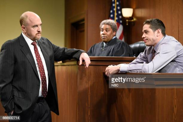 LIVE Louis CK Episode 1721 Pictured Host Louis CK as the Lawyer Kenan Thompson as a judge and Pete Davidson as a witness during The Lawyer sketch on...