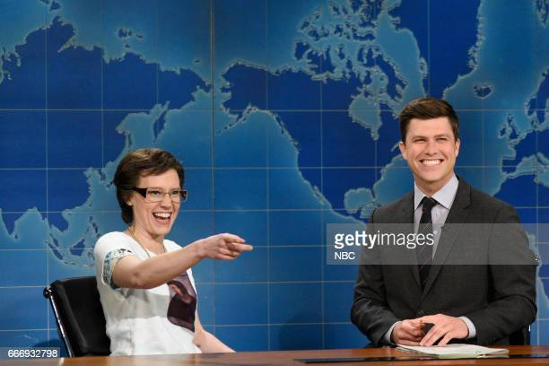LIVE 'Louis CK' Episode 1721 Pictured Kate McKinnon as Cecilia Giminez and Colin Jost during Weekend Update on April 8 2017