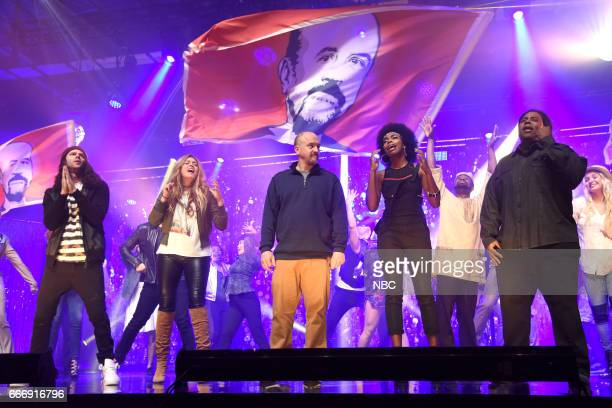 LIVE 'Louis CK' Episode 1721 Pictured Mikey Day Cecily Strong host Louis CK Sasheer Zamata and Kenan Thompson during the 'Tribute Song' sketch on...