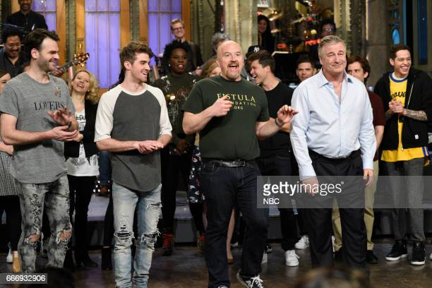 LIVE 'Louis CK' Episode 1721 Pictured Musical guest The Chainsmokers host Louis CK and Alec Baldwin during 'Goodnights Credits' on April 8 2017
