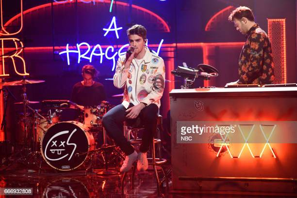LIVE 'Louis CK' Episode 1721 Pictured Musical guests The Chainsmokers perform on April 8 2017
