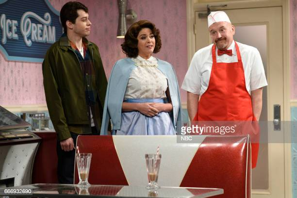 LIVE 'Louis CK' Episode 1721 Pictured Pete Davidson as Johnny Cecily Strong as Louise and host Louis CK as Sam during the 'Soda Shop' sketch on April...