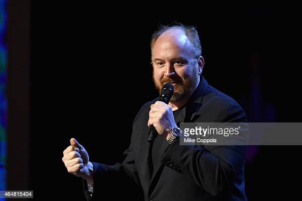 Louis CK performs onstage at Comedy Central Night Of Too Many Stars at Beacon Theatre on February 28 2015 in New York City