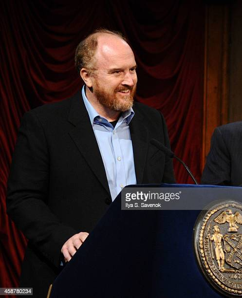 Louis CK speaks during 'Made In NY' Awards Ceremony at Weylin B Seymour's on November 10 2014 in Brooklyn New York
