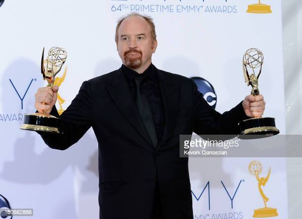 Louis CK winner Outstanding Writing for a Comedy Series poses in the press room during the 64th Annual Primetime Emmy Awards at Nokia Theatre LA Live...
