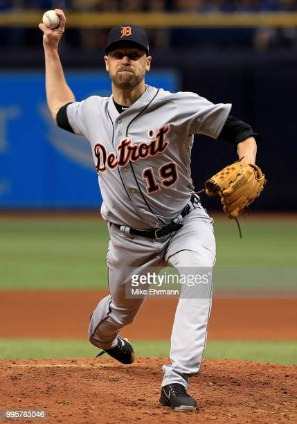 Louis Coleman of the Detroit Tigers pitches during a game against the Tampa Bay Rays at Tropicana Field on July 10 2018 in St Petersburg Florida