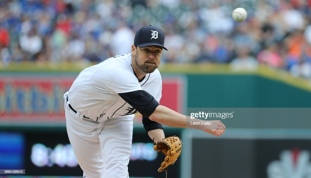Louis Coleman #19 of the Detroit Tigers pitches during the eighth inning of the game against the Toronto Blue Jays at Comerica Park on June 2, 2018 in Detroit, Michigan. The Tigers defeated the Blue Jays 7-4.