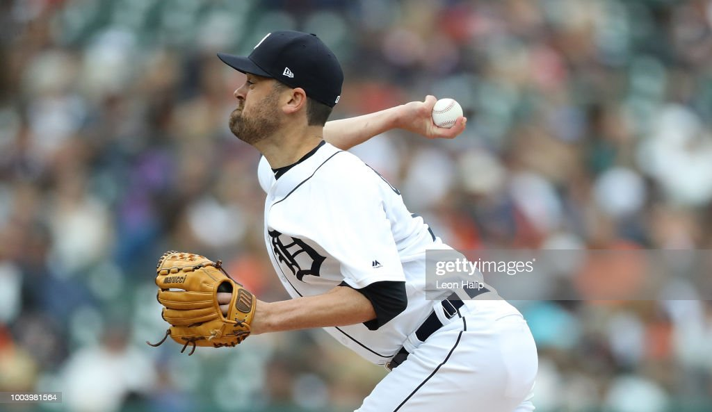 Louis Coleman #19 of the Detroit Tigers pitches during the seventh inning of the game against the Boston Red Sox at Comerica Park on July 22, 2018 in Detroit, Michigan.