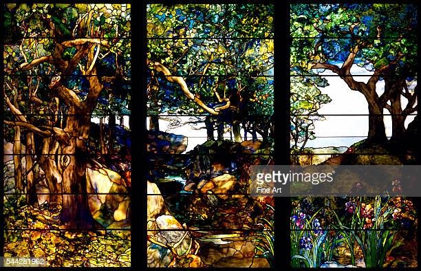 Louis Comfort Tiffany A Wooded Landscape in Three Panels c 1905 stained glass 2197 x 3341 cm Museum of Fine Arts Houston Texas
