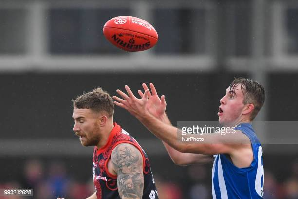 Louis Cunningham of North Melbourne keeps his eye on the ball during the VFL round 14 game between the Casey Demons and North Melbourne at Casey...