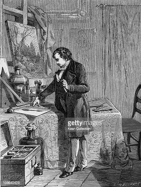 Louis Daguerre French chemist recognized for his invention of the daguerreotype process of photography France circa 1740 Daguerre is pictured...