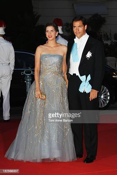 Louis de Bourbon and Maria Margarita attend the official dinner and firework celebrations at the Opera Terraces after the religious ceremony for the...