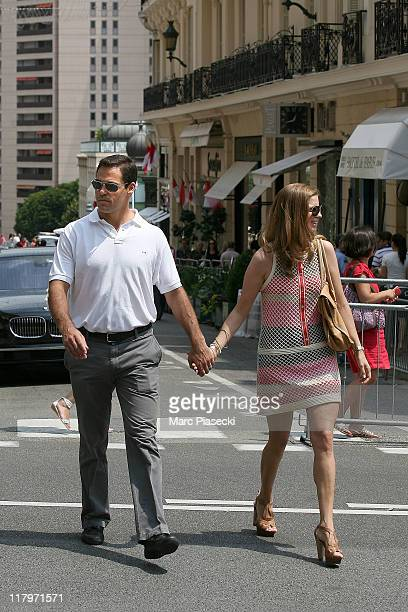 Louis de Bourbon, Duke of Anjou and his wife Maria Margarita Vargas Santaella are sighted around the 'Hermitage' hotel before the Royal Wedding of...