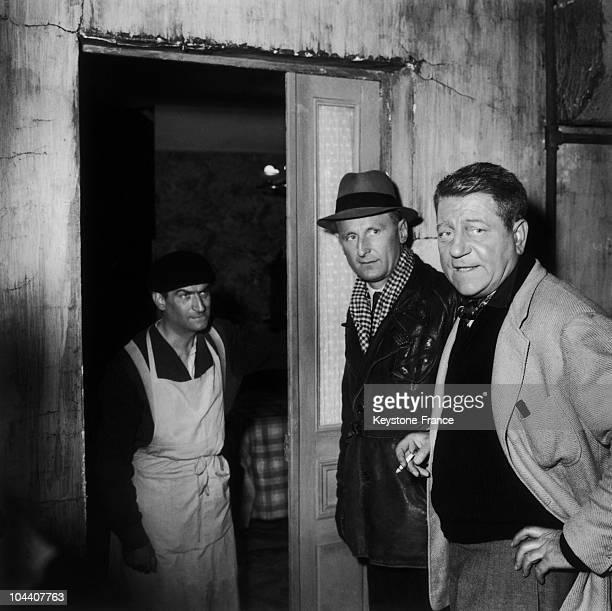 Louis DE FUNES BOURVIL and Jean GABIN playing Jambier Martin and Grandjil respectively in the film LA TRAVERSEE DE PARIS in 1956