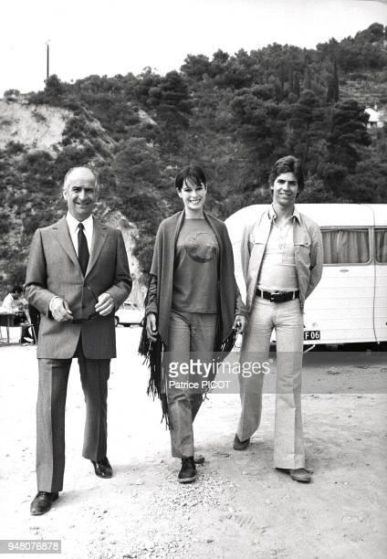 Louis de Funes his son Olivier and Geraldine Chaplin