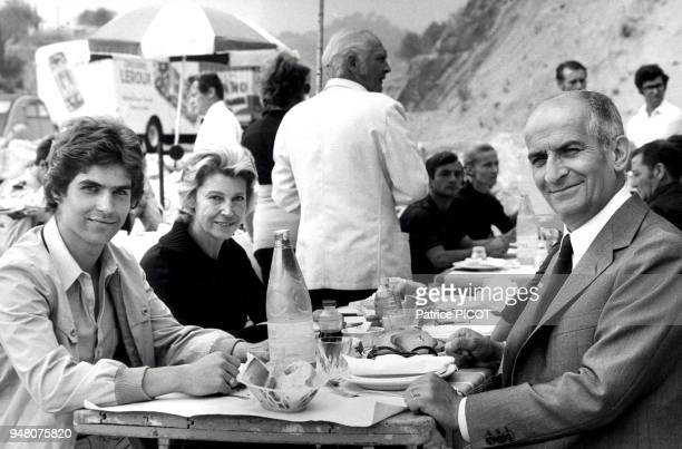 Louis de Funes his son Olivier and his wife