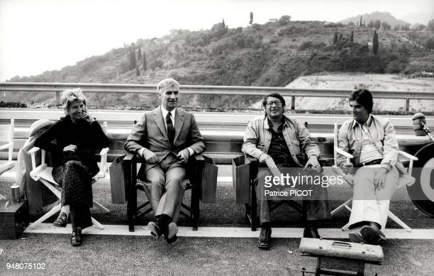 Louis de Funes his son Olivier his wife and Serge Korber