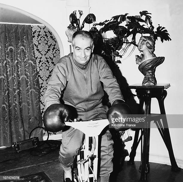 Louis De Funes On A Home Trainer During The Filming Of The Bons Vivants Movie In Paris On January 1965