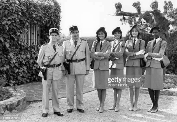 Louis de Funès sur le tournage du film 'Le Gendarme et les gendarmettes' de Jean Girault à SaintTropez le 7 avril 1982 France