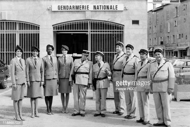 Louis de Funès sur le tournage du film 'Le Gendarme et les gendarmettes' de Jean Girault à SaintTropez le 10 mai 1982 France
