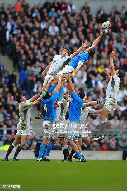 Louis Deacon of England reaches for the ball in the line out during the England vs Italy RBS 6 Nations Championship International Rugby 2011 played...