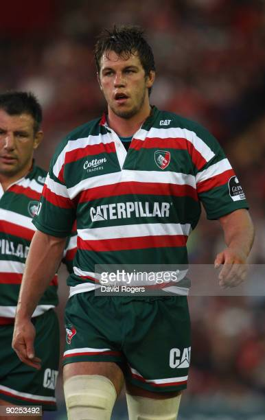 Louis Deacon of Leicester Tigers looks on during the pre season friendly match between Leicester Tigers and Munster at Welford Road on August 28,...